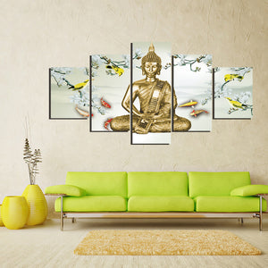 5 Panel Canvas Art Abstract Painting Printed Canvas Wall Art Home Decoration Buddha Unframed Living Room Pictures