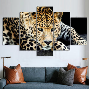 Decorative Jaguar Canvas Animal Painting Home Decor 5 pcs panels Large Leopard Canvas Art
