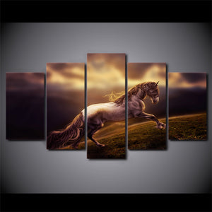 Modern  HD Printed Wall Art Canvas Poster 5 Pieces Running Steed Pictures Beautiful Animal Horse Painting