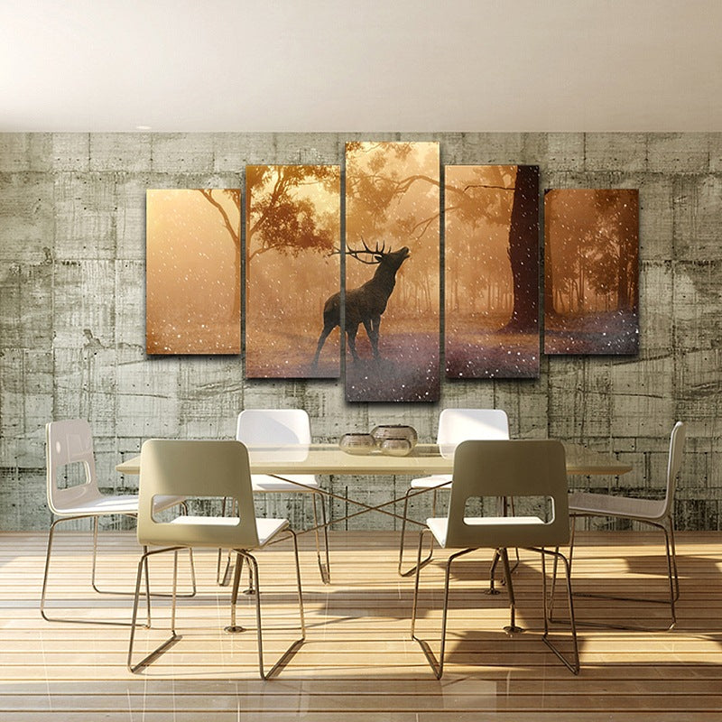 Canvas Wall Art Modular Pictures Painting HD Print 5 Panel Forest Animal Bucks Deer Elk Landscape Poster