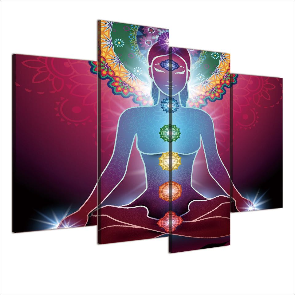 HD Printed 4 Piece Canvas Art Abstract Lotus Buddha Painting Modular Buddhism