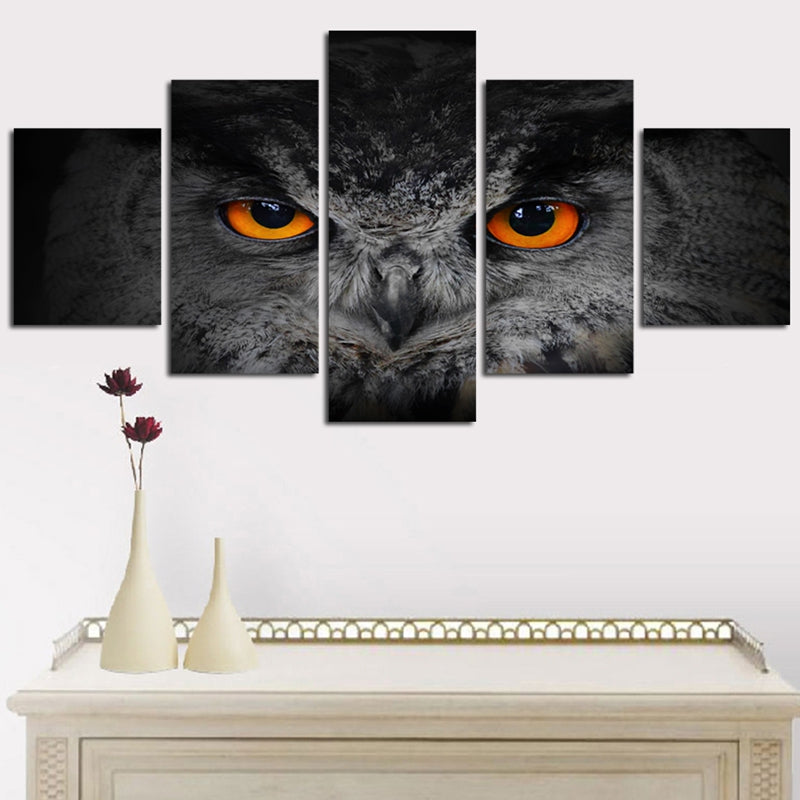 Wall Art Pictures Modular Modern Home Canvas HD Printed Painting 5 Pieces Cartoon Animal Owl Eyes Poster