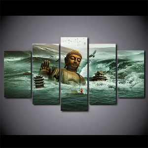Modular Pictures Home Decor Canvas Wall Art Poster 5 Pieces Submerged In Sea Buddha Statue Painting
