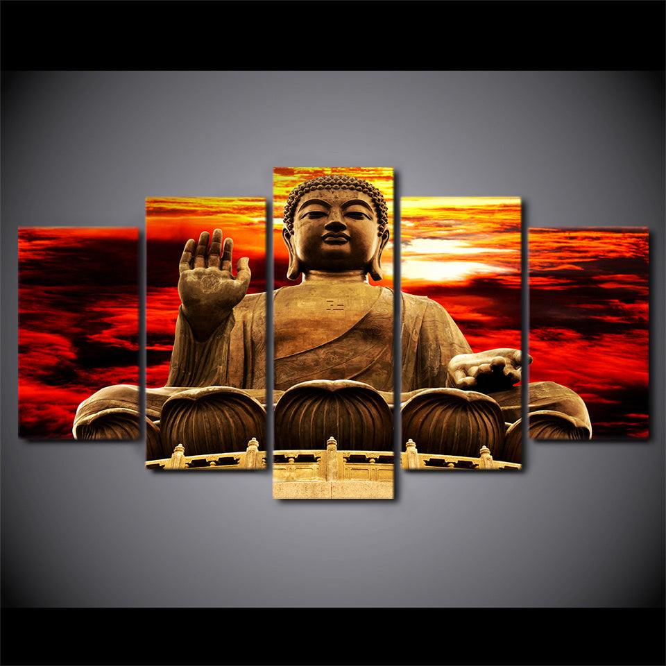 Canvas Wall Art Poster HD Printed Modern Pictures 5 Pieces Sunset Golden Buddha Statue Painting