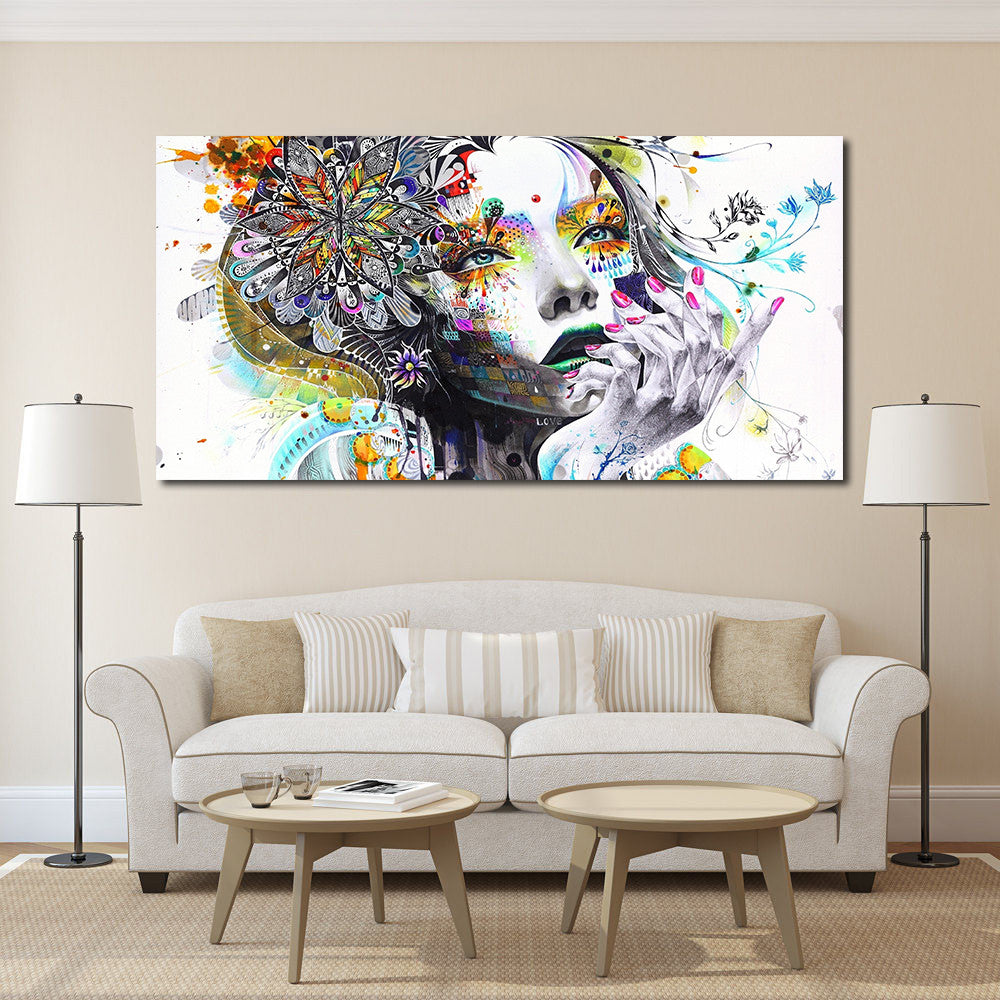 Wall Art Girl With Flowers Oil Painting Prints Painting On Canvas No ...
