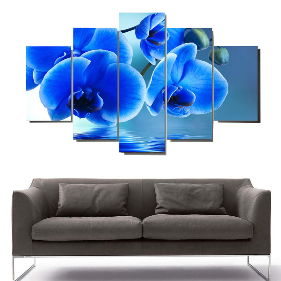 5 Panel Oil Painting Pictures Blue Flower Canvas Art Print Painting Poster Wall Pictures