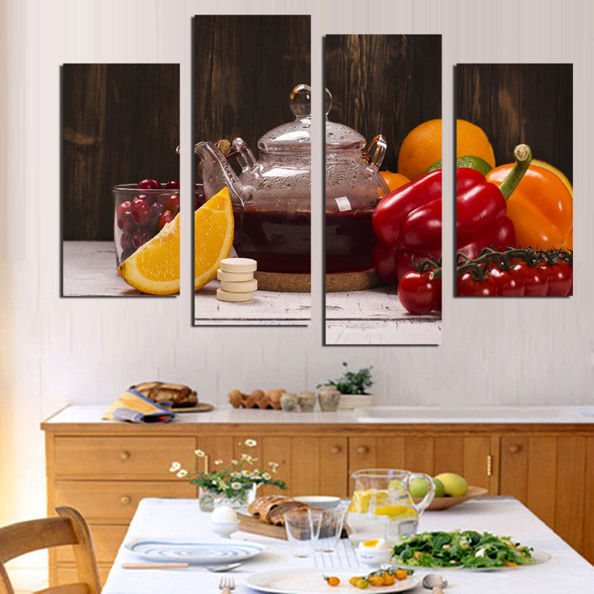 4 panel canvas art fruit vegetable picture room wall decor canvas