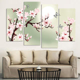 4 Piece Canvas Art Green Pink Decoration Orchids Painting Wall Pictures Living Room Flower Pictures
