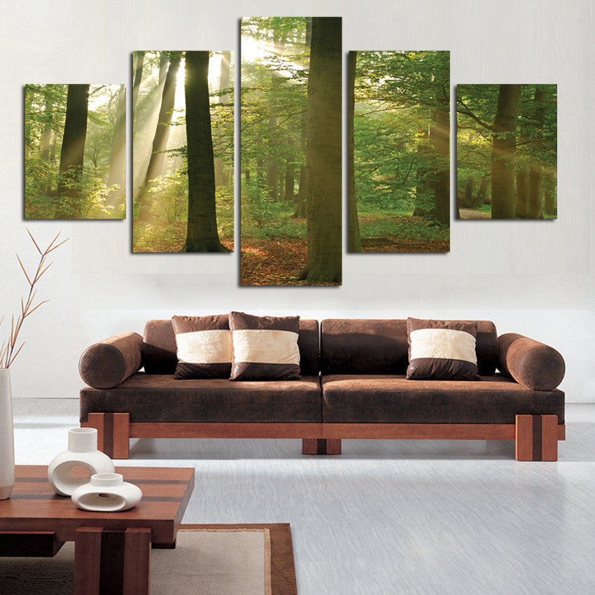 Forest Scenery Painting 5 Panel Canvas Art Print on Canvas