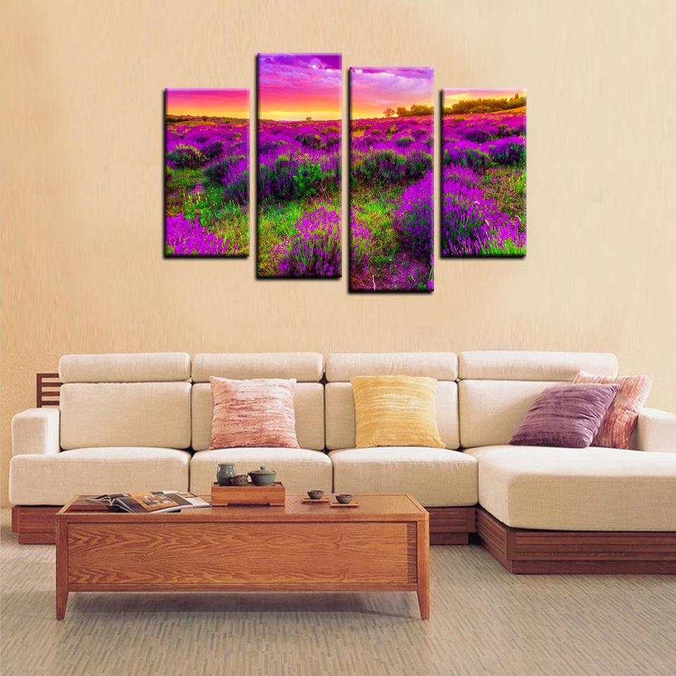 Wall Canvas Art Painting Purple Flowers Sea Landscape Picture Print Picture Modular