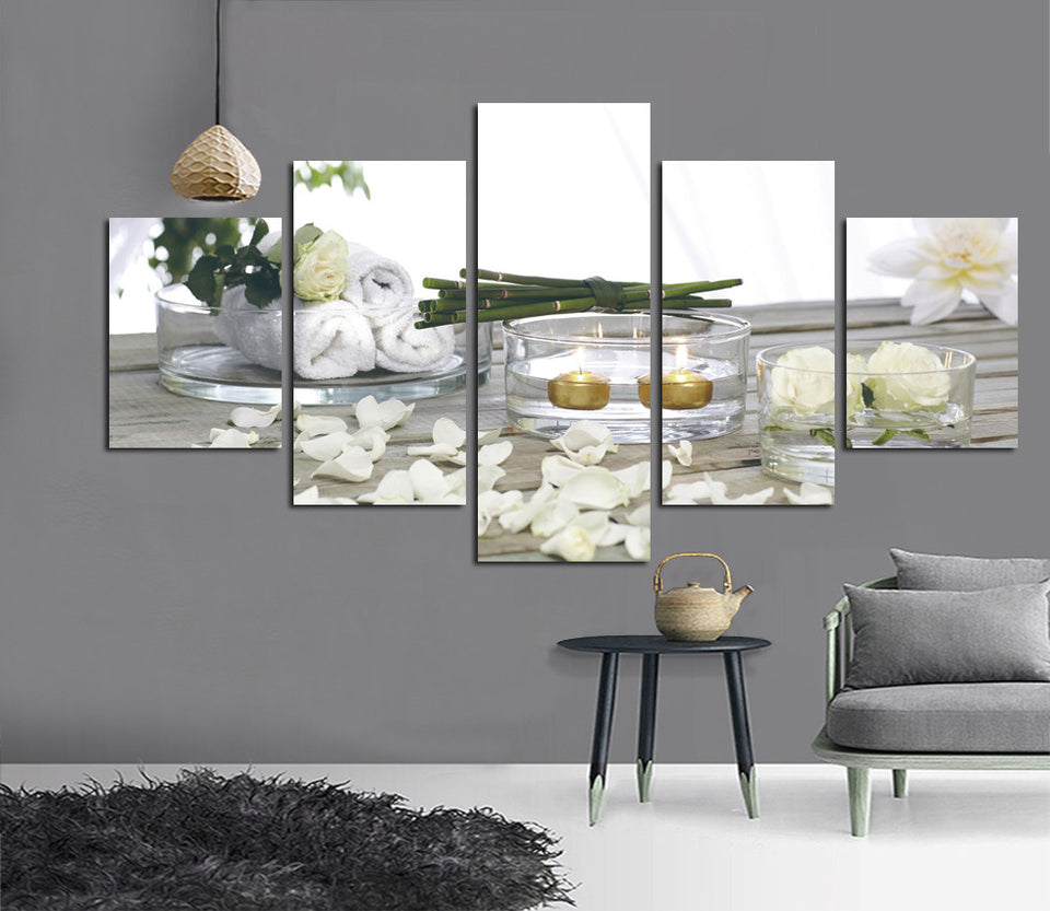 HD 5 Piece Art Posters And Prints Vintage Picture Canvas Painting Candle Flower