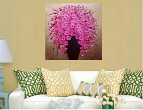 Handpainted Abstract Canvas Art Oil Painting Knife Oil Pink Flower Painting
