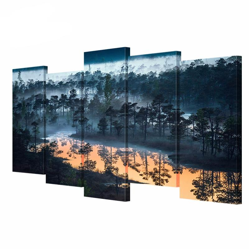 5 Panel Modular Canvas Art Painting Forest in The Fog Lake Landscape Picture HD