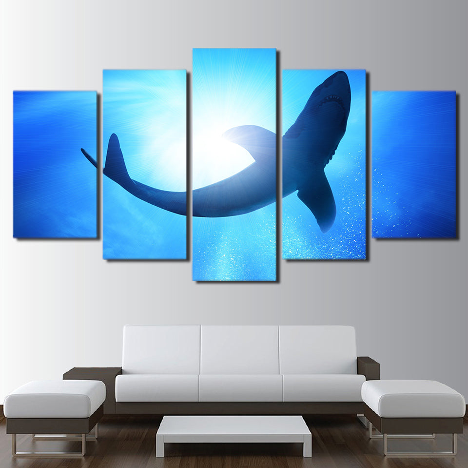 HD Printed 5 Piece Canvas Art Big Shark Painting Deep Blue Ocean Wall Pictures