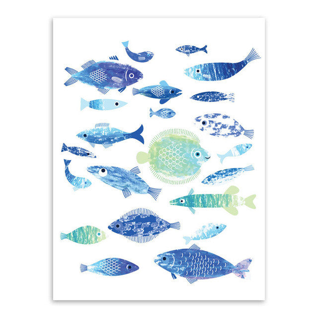 Sea Fish Blue Coral Big Canvas Art Poster Prints Wall Picture Paintings Nordic