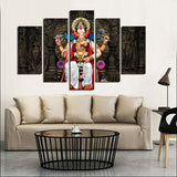 5 Panel Printed Group Canvas Painting India Ganesha Print Art Home Decor Wall Art Picture