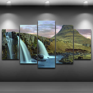 Canvas Pictures HD Printed Oil Painting Modern 5 Panel Waterfall Landscape