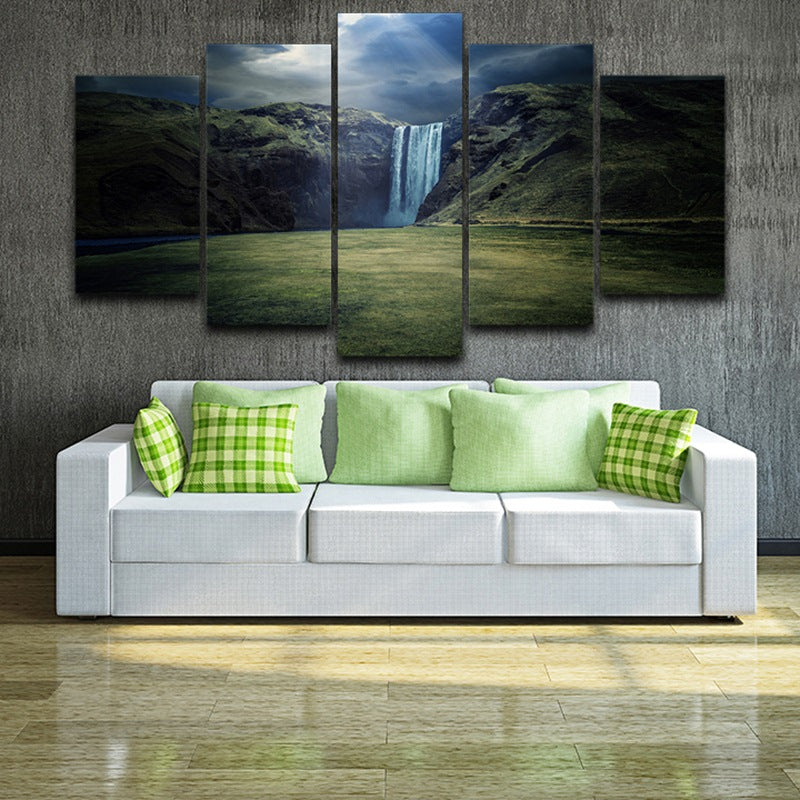 Modern Canvas HD Printed Wall Art Painting 5 Panel Pictures Mountain Valley Waterfall Landscape Posters