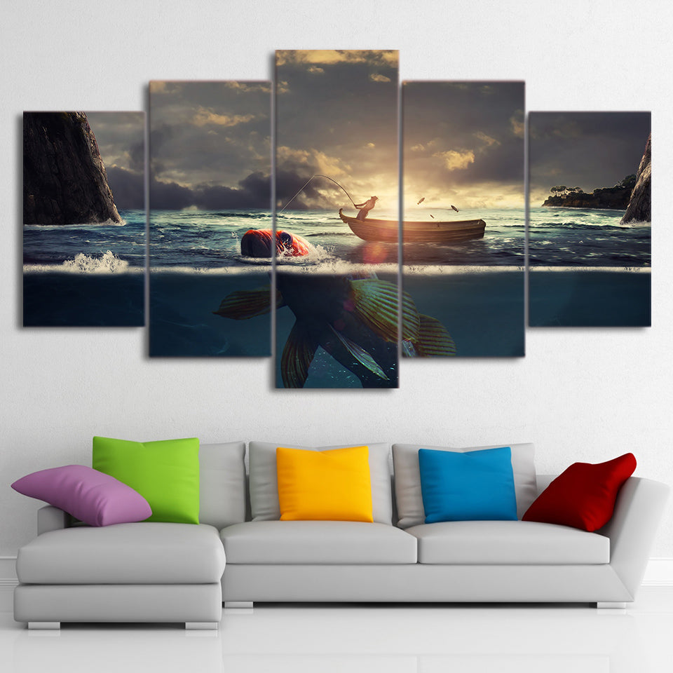 Canvas HD Printed Pictures 5 Pieces Sunset Fishing Boat Paintings Big Fish Landscape Posters Wall Art