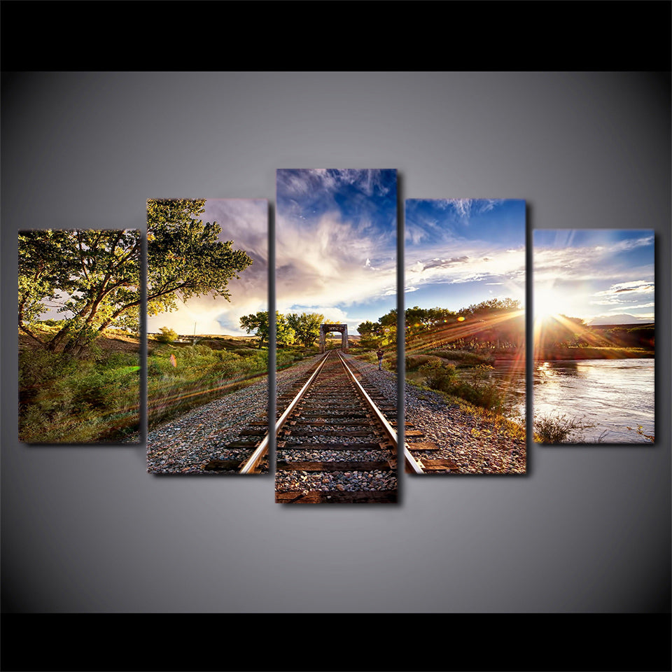 Canvas Wall Art HD Printed Modern Posters 5 Pieces Blue Sky Railway Sights Sunset Tree Painting Pictures