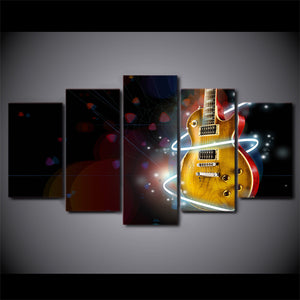 Modular Pictures Canvas HD Printed Wall Art 5 Pieces Home Decor Abstract Cool Guitar Painting Music Aperture Poster