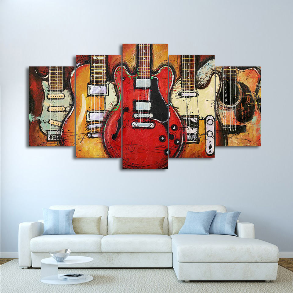Canvas Paintings Printed 5 Pieces Guitar Abstract Wall Art Canvas Pictures