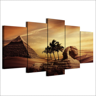 HD Printed 5 Piece Canvas Art Egyptian Pyramids Painting Sunset Desert Wall Pictures