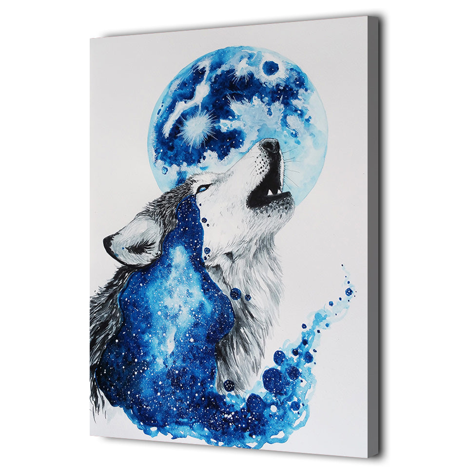 HD Printed 1 Piece Canvas Art Abstract Blue Wolf Painting Modular Wall Pictures