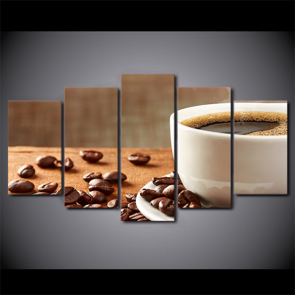 HD Printed 5 Piece Canvas Art Drink Painting Coffee Beans Framed Wall Pictures