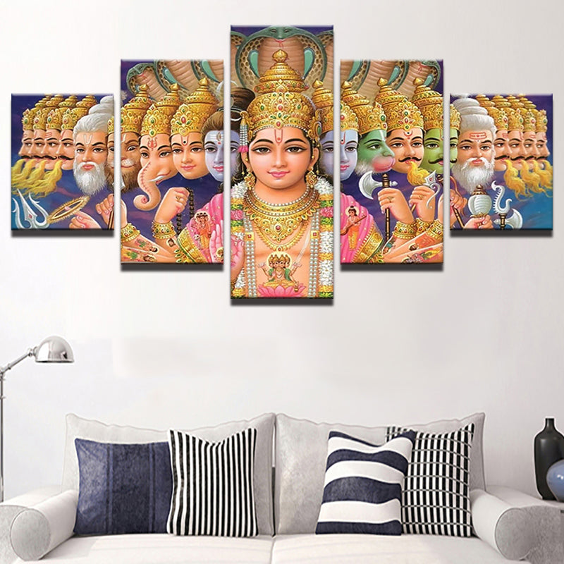 5 Panel Buddha Landscape Home Decor Canvas Print Painting Wall Art Picture