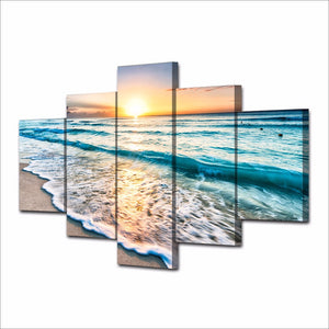 Canvas Painting Wall Art Pictures 5 Pieces Seascape Sunset Beach Sea Wave Poster Living Room HD Printed