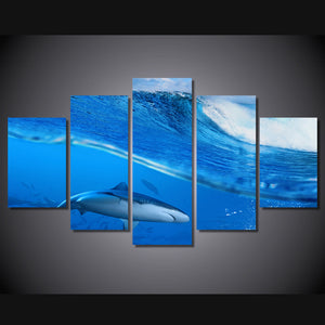 Canvas Pictures HD Printed Room Fashion Wall Art 5 Pieces Waves Blue Sea Shark Paintings Animal Posters
