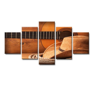 5 Pcs Of Modular Canvas Poster Cowboy Hat Guitar Picture HD Printing