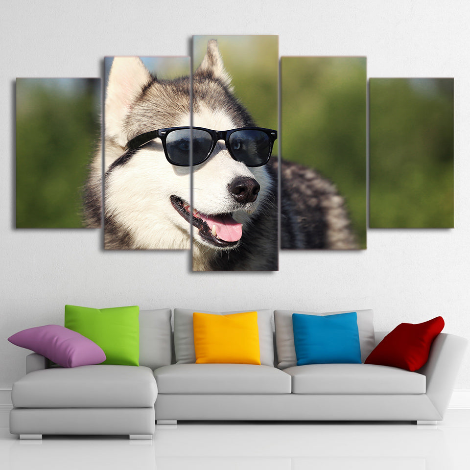 Modern HD Printed Canvas Poster Artworks 5 Pieces Cool Husky Pet Paintings Wall Art Dog Wear Glasses Pictures