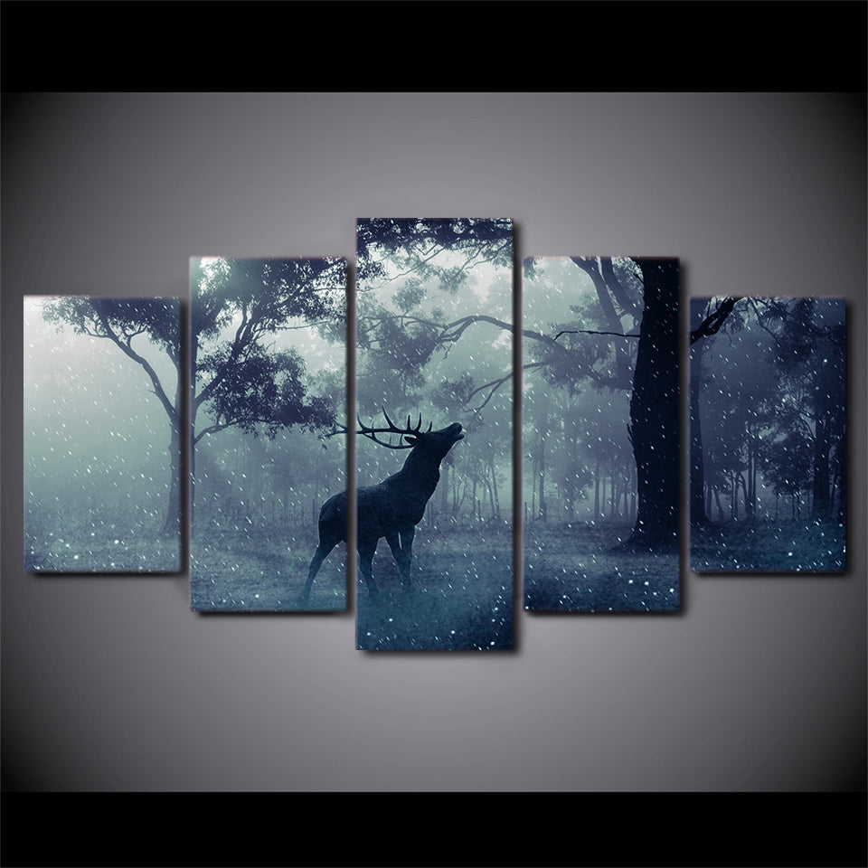 Canvas Modern Wall Art Modular Pictures 5 Pieces Poster Snow Forest Animal Deer Landscape Oil Painting