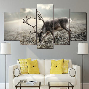 HD Printed Modular Pictures Wall Art Decor Poster 5 Pieces Winter Forest Animal Deer Landscape Canvas Painting