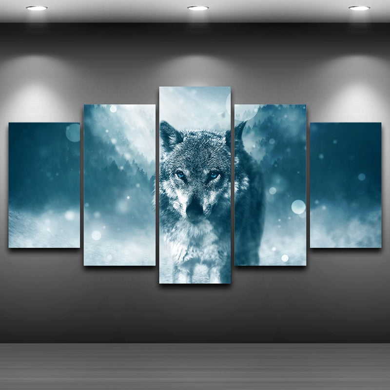 Modern Pictures HD Printed Poster 5 Pieces Wall Art Animal Snow Wolf Canvas Painting
