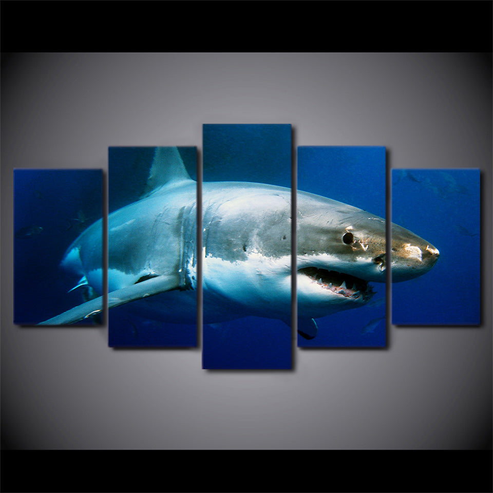 Modular Pictures Canvas Art Wall Decor HD Printed Poster 5 Pieces Blue Ocean White Shark Animal Painting