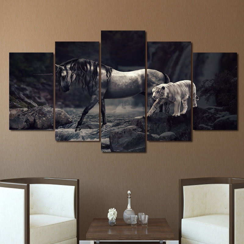 Modern Wall Art Canvas HD Print Pictures Modular Poster 5 Pieces Unicorn And Animal White Tiger Painting