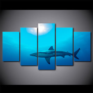 Canvas Poster Modern HD Printed Room Wall Art Pictures 5 Pieces Home Decor Deep Blue Ocean Painting Big Shark Photo