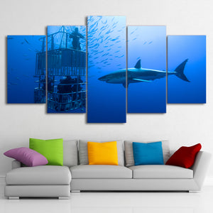 Modern Canvas Wall Art Pictures Modular 5 Pieces Large Shark Painting HD Printed Deep Blue Ocean Poster