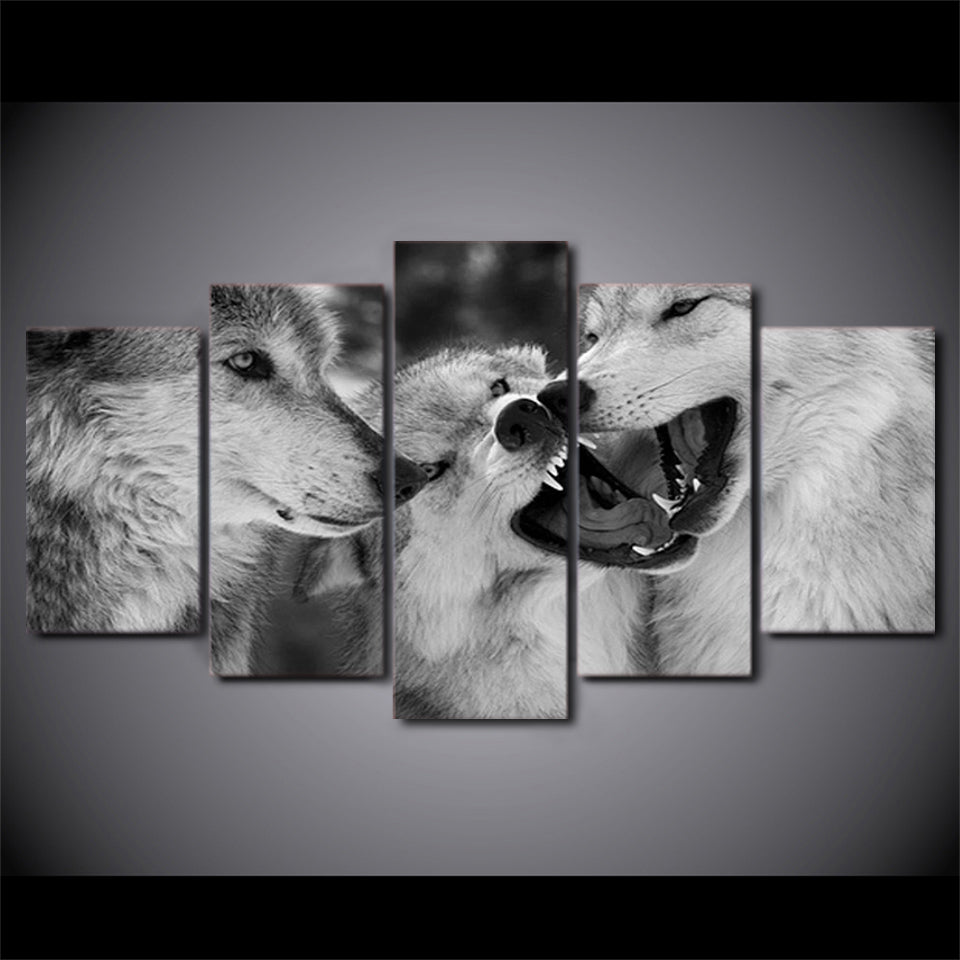 Modern hd printed modular black white pictures 5 pieces white wolf canvas painting animal poster