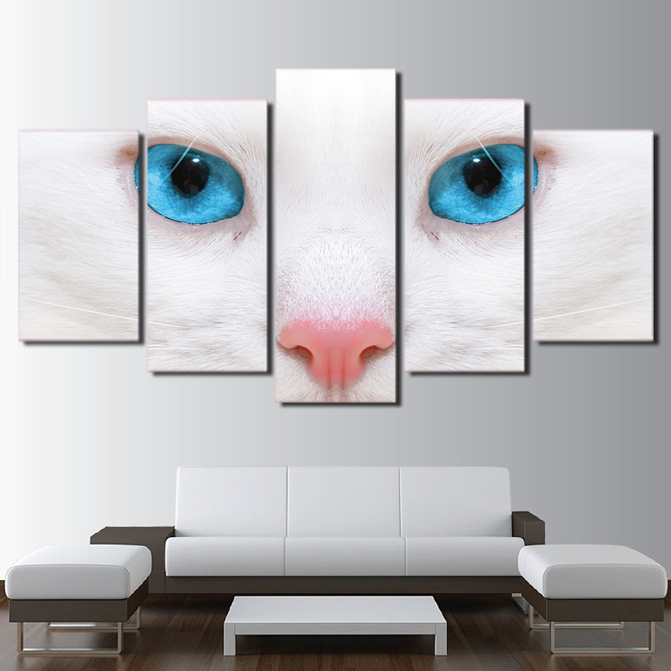 Modular Canvas Paintings Wall Art Pictures Fashion 5 Pieces White Cat Blue Eyes Posters HD Printed