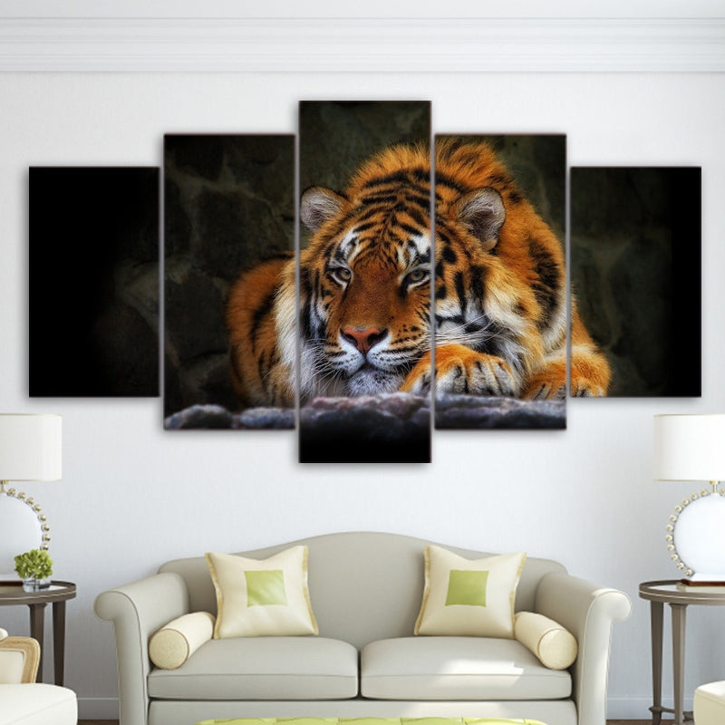 Modern Canvas Painting Wall Art HD Printed Photo 5 Pieces Animal Indolent Tiger Poster Pictures