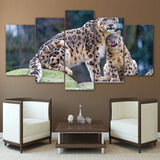 Wall Art Pictures Modern HD Printed 5 Piece Leopard Tiger Pair Painting Animal Canvas Poster