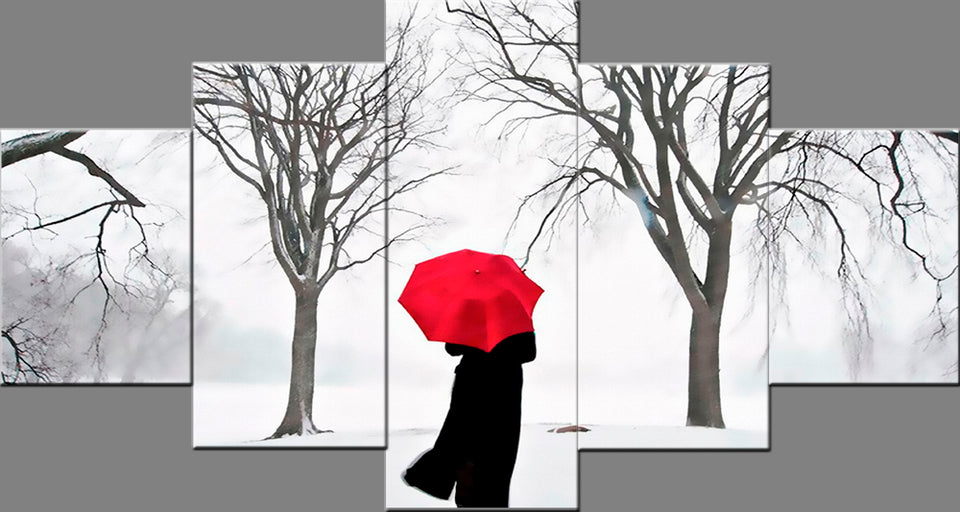 5 Panels Alone Women Walking in Winter Wall Pictures Photo on Canvas Prints Wall Art Bedroom Canvas