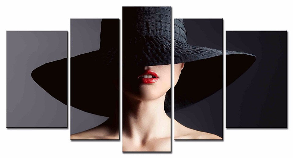 5 Panel Woman Hat Printed Canvas Painting Art Home Decor Wall Art Pictures
