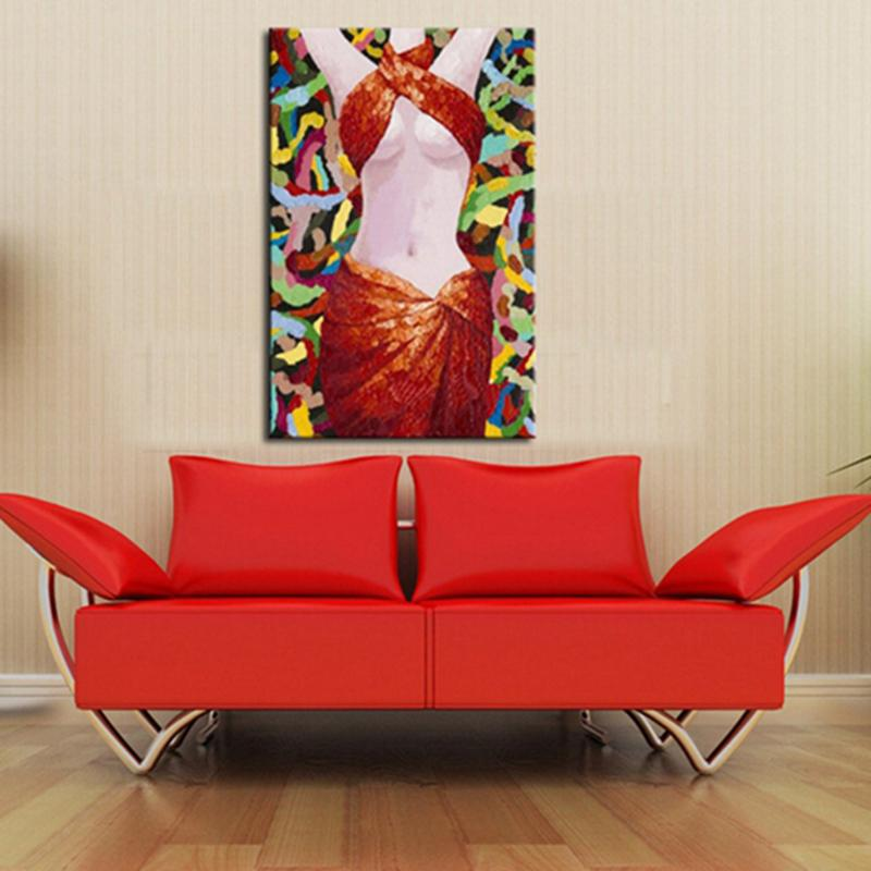 Canvas Oil Paintings Sexy Nude Women in Red Dress Unframed Decorative Wall Art Canvas Painting
