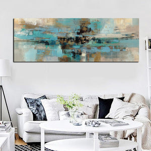 HD Print Canvas Painting Light Blue Landscape Abstract Oil Painting Canvas Wall Art
