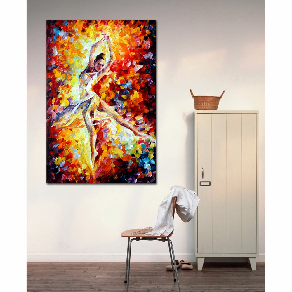 Passion Ballet Girl Woman Painting Palette Knife Painting Canvas Print Wall Art Picture Wall Decoration